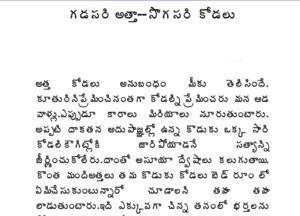 గడసరి అత్త సొగసరి కోడలు Gadasari Atha Sogasari Kodalu Telugu Sex Story