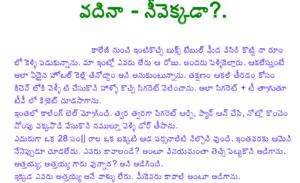 వదిన నీవెక్కడ Vadhina Neevekkada Telugu Story